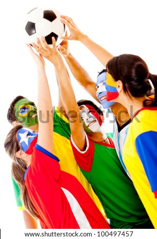 Latin American group of football fans - isolated over a white background