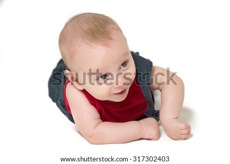laughing baby boy portrait isolated on white background