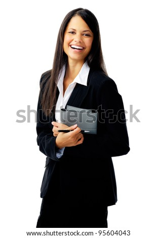 Laughing businesswoman isolated on white