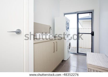 laundry room in modern townhouse