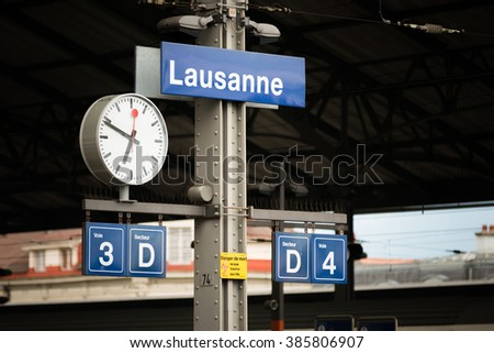 Lausanne station sign at Lausanne train station in Switzerland