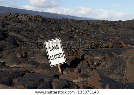 Lava blocked the road in Hawaii