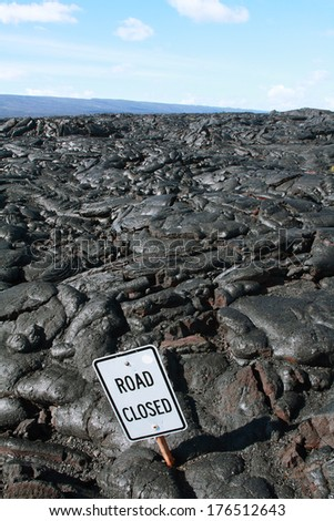 Lava flows of kilauea volcano sometimes reach roads in Big island, Hawaii