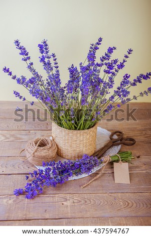 lavender. bouquet of lavender on a wooden table