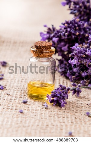 Lavender product, oil on nature background