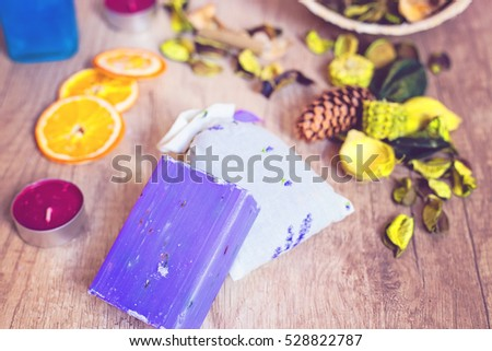 Lavender soap bar and decorations