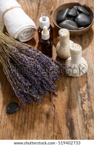 lavender with massage ball ,towel,oil for massage spa