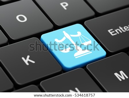 Law concept: computer keyboard with Scales icon on enter button background, 3D rendering