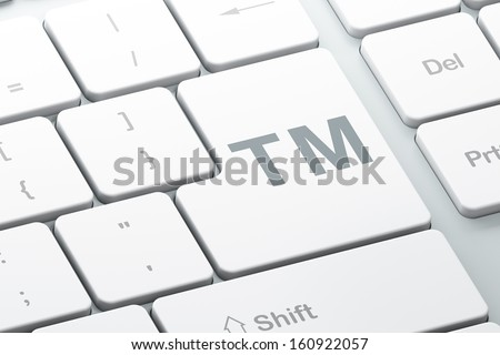 Law concept: Enter button with Trademark on computer keyboard background, 3d render