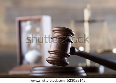 Handsome Judge Gavel Sitting Courtroom Stock Photo