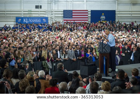 Lawrence, KS - January 22, 2015: President Obama speaks at the University of Kansas