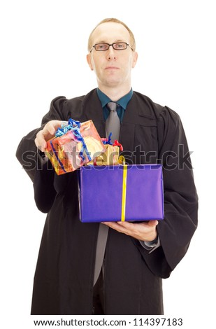Lawyer with two colorful gifts