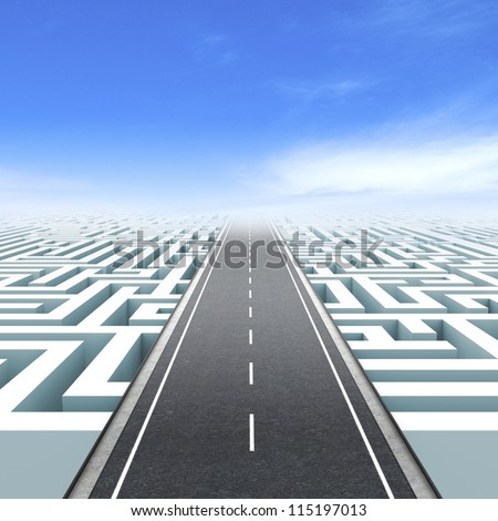 Leadership and business vision with strategy in corporate challenges. Labyrinth