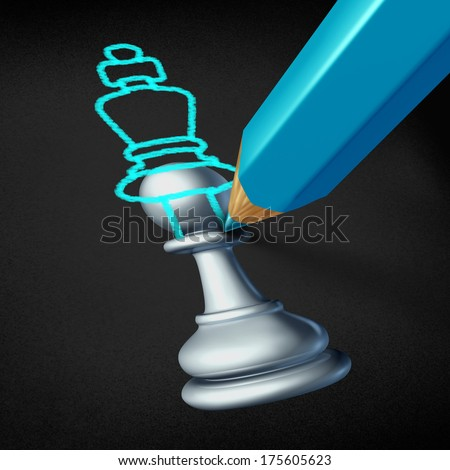 Leadership planning and future leader concept as a chess pawn image with a blue pencil drawing an overlapping sketch of a king piece as a career success metaphor as a winning business strategy icon.