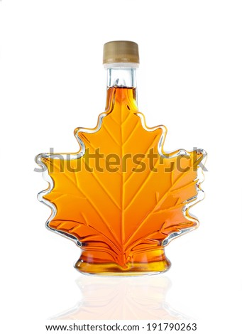 Leaf Shaped Canadian Glass Maple Syrup Bottle Isolated On A White Background