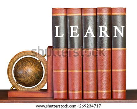 Learn concept with encyclopedia and globe on white background