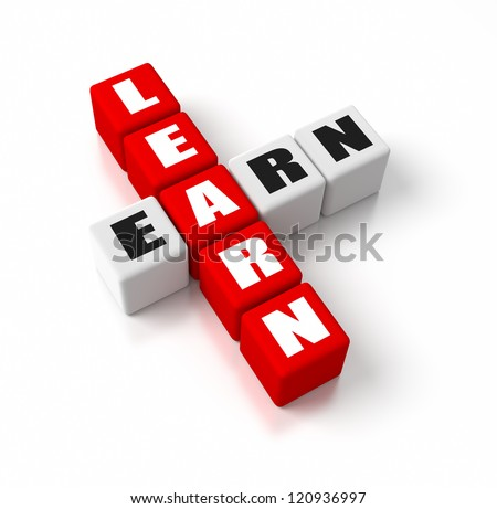 Learn Earn crosswords. Part of a business concepts series. - stock ...