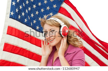 Learning language � American English (blond young woman with headphones, isolated)
