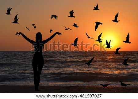 Learning to fly abstract concept with silhouettes of woman and birds at sunrise