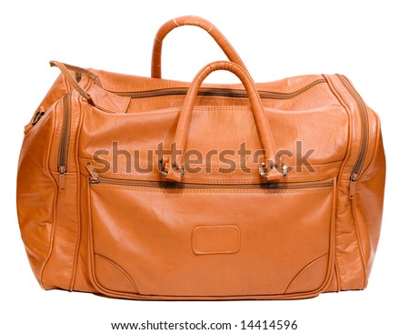 Leather bag isolated on white.