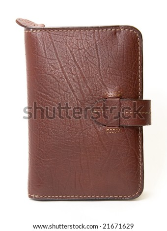 leather brown purse isolated on white