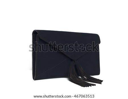 Leather female handbag isolated on white