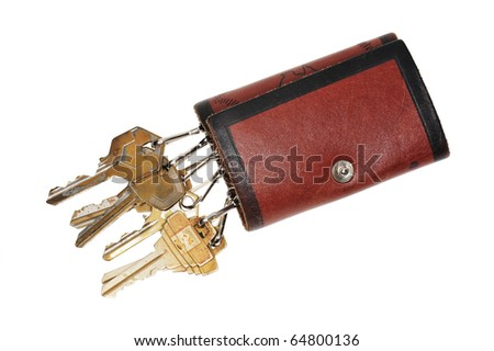 Leather Key Pouch On White Background