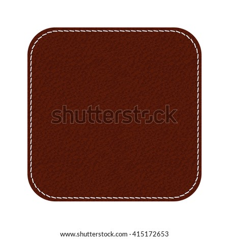 Leather label. Brown shield with stitch. Illustration isolated on white background