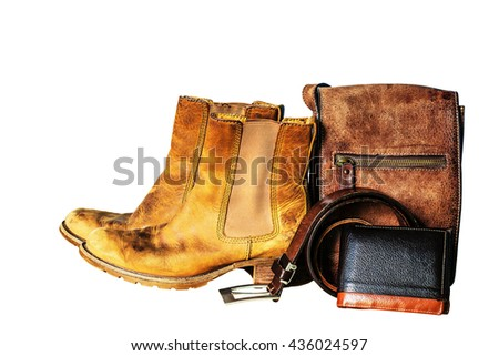 Leather products on a white background.