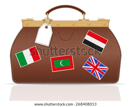 leather valise travel with constipation illustration isolated on white background
