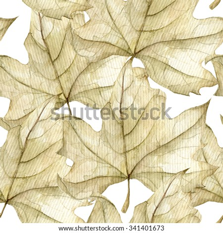 Leaves seamless pattern on white. Watercolor composition for cards, invitations, wedding invitations and other printed materials.