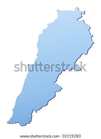 Lebanon map filled with light blue gradient. High resolution. Mercator projection.