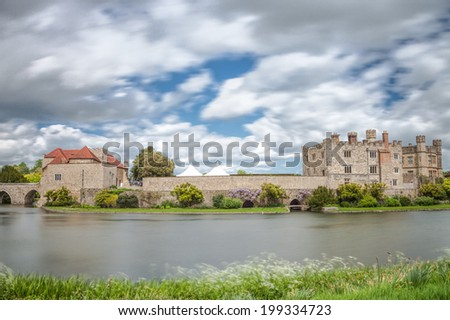 Leeds castle situated in the Kent region of England
