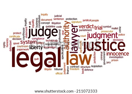 Legal concept word cloud background
