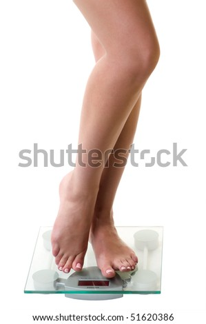 Legs on scales as symbol of slenderness