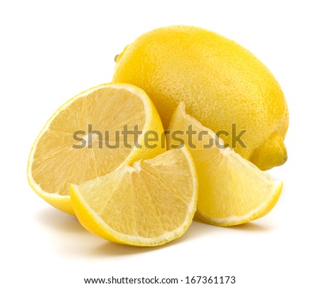 lemon and slices isolated on white background