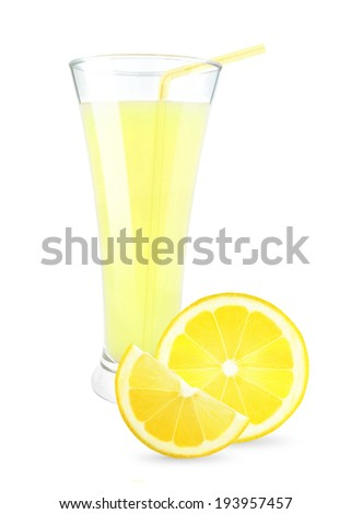 lemon juice in a glass on a white background