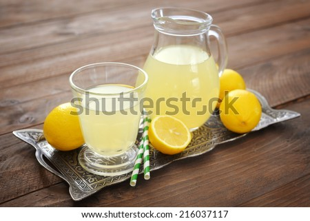 Lemon juice with fresh lemon and mint in glass on wooden background