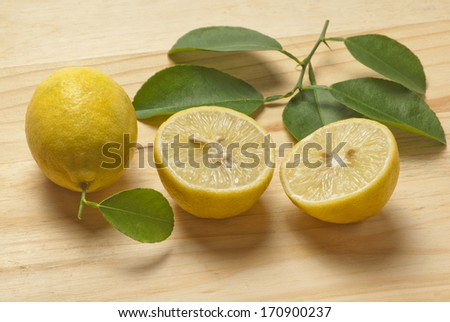 Lemon on wooden background