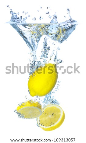Lemon under water. Tasty and healthy food