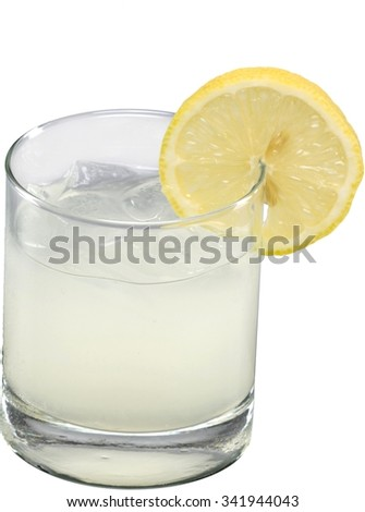Lemonade or lemonade cocktail in a tumbler