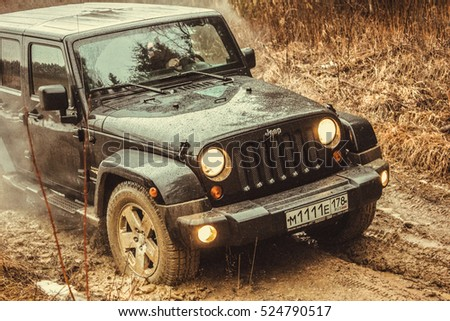 Leningrad Oblast, Russia, February 16, 2013. Off-road expedition Jeep Wrangler, the Jeep Wrangler is a compact four wheel drive off road and sport utility vehicle