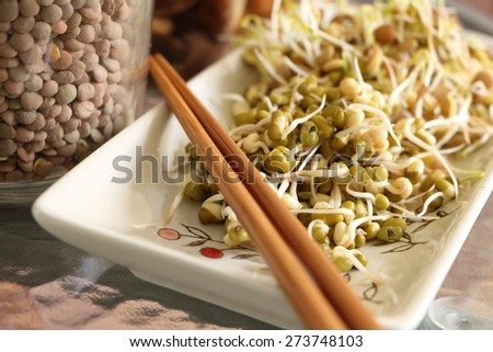 Lentil and mung beans sprouts salad on plate with chopsticks