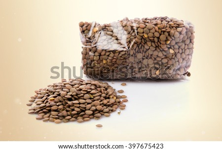 Lentils over ocher background
