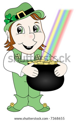 Leprechaun, pot of gold and rainbow.