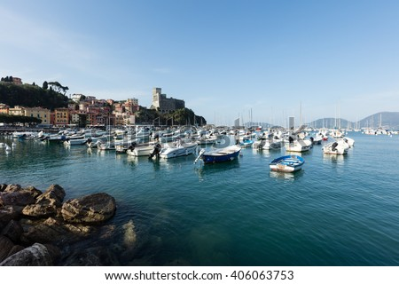 Lerici, Italy - April  4, 2016: view of port.  Lerici is very famous for the old castle and the port