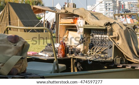 "Les Sables d'Olonne, France - August 26, 2016 : commemoration of the Liberation of ""Les Sables d'Olonne"", which took place on the night of August 27 to 28, 1944 - US military switchboard on display"