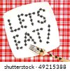 lets eat - ants on a picnic plate - stock photo