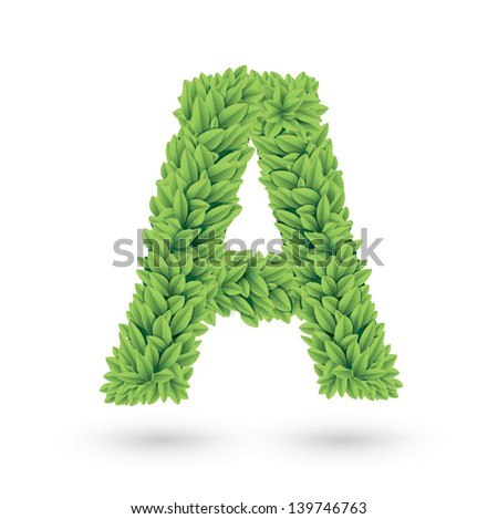 Letter A of green leaves