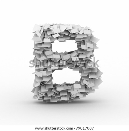 Letter B, alphabet from paper sheets in stack